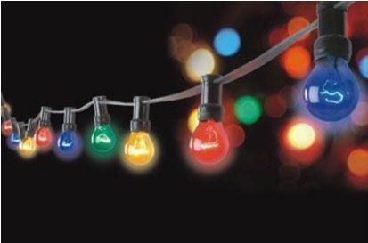 Udendørs party lyskæde 10m med 10 farvede lamper 25W