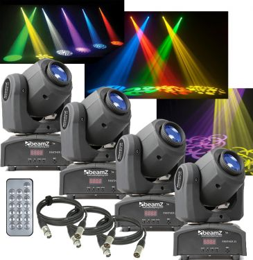 Moving Head pakke med 4 stk. Panther 25 mini moving heads. Perfekt til mobildiskotek