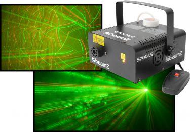 Røgmaskine 700W med indbygget laser lysshow rød+grøn - Super fed effekt!