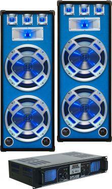 """Højttalersæt 2x15"""" bas 1000W inkl. forstærker med 3 input og Bluetooth"""