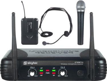 Dobbelt trådløst mikrofonsæt STWM722C med 1 Håndholdt + 1 Headset
