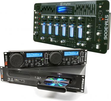 Komplet DJ Mixer med dobbelt cd-afspiller