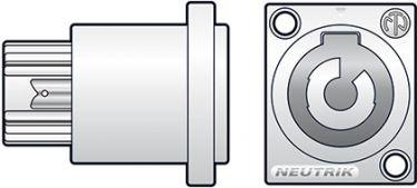 Powercon OUT chassisbøsning NEUTRIK® NAC3MPB