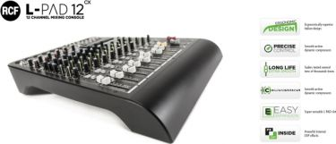 RCF Livepad 12CX mixer, 6 Mic + 4 x Stereo Line m/DSP