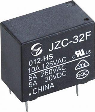 Miniature relæ - 12VDC / 5A-250VAC, 1 x slutte (SPST-NO)