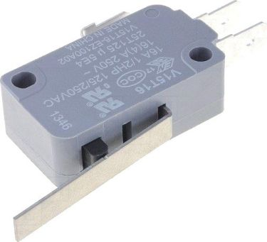 Microswitch - 16A 250V omskifter, 27,5mm arm
