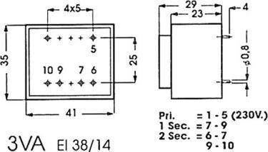 Printtransformator - 3VA 2 x 9V / 2 x 160mA (indstøbt) 2090030M