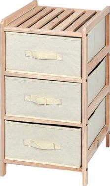 WOODEN STORAGE RACK - 34.5 x 36.5 x 67 cm - 3 DRAWERS FW1003