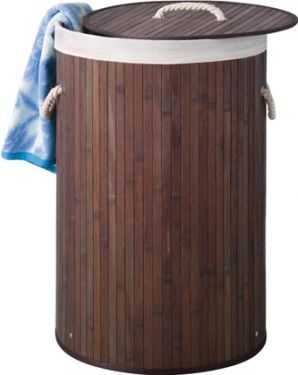 BAMBOO LAUNDRY BASKET - ROUND - BROWN HP100202