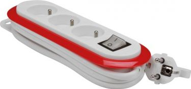 3-WAY POWER STRIP WITH SWITCH - RED/WHITE - FRENCH PLUG EB3CR