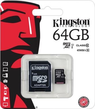 Kingston - Micro SDXC kort - 64GB SDHC m. SD adapter, Class 10