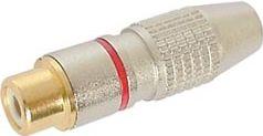 RCA(Phono) hun forlænger - Forgyldt m. rød ring (Ø8mm)