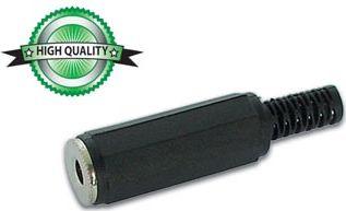 JACK forlænger - 3,5mm mono hun, Sort plast (HQ)