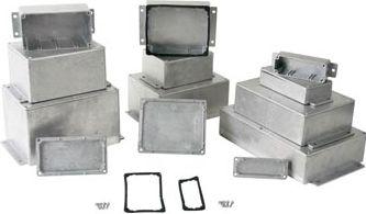 Aluminiumskabinet - Forseglet m. flanger (114 x 90 x 55mm)
