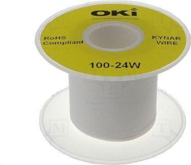 Monteringsledning - 0,2mm² massiv OFC forsølvet, HVID (100m)
