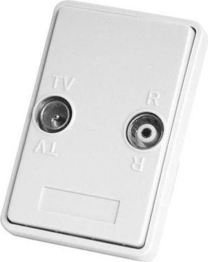 COMEGA - Antennestikdåse - Slutdåse TV/FM, 1½-modul, HVID