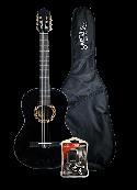 Santana B8 klassisk 4/4 guitar, taske & tuner, HG Sort