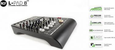 RCF Livepad 8CX mixer, 4 Mic + 3 x Stereo Line m/Effekt