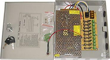 CCTV strømforsyning - 12VDC / 10A stabilisert, 9 udgange