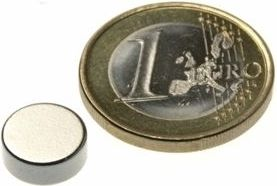 Magnet, neodynium - Cyl. N42 Ni Ø10 x 4mm (1 stk.)