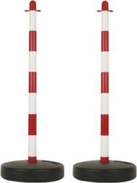 PEREL - Plast-stander til sikkerhedskæde - Rød/hvid (2 stk.)