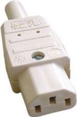 Apparatstik - IEC320-C13, 3 pol AC hun, Hvid