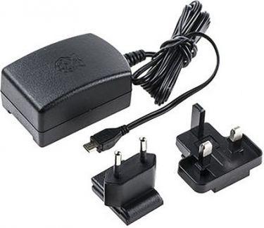 Raspberry Pi - Netadapter - 100-240V til 5,1Vdc / 2,5A micro USB han, Sort