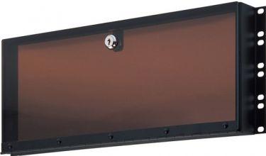 K&M Plexiglas sikkerheds cover. 4U. Sort.