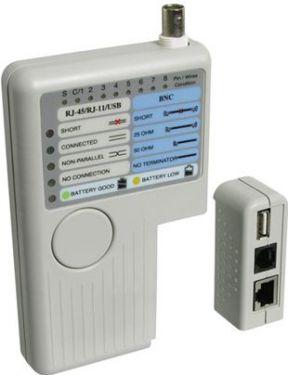 LAN netværks-kabeltester (TP, BNC, USB, RJ11, 12, 45)