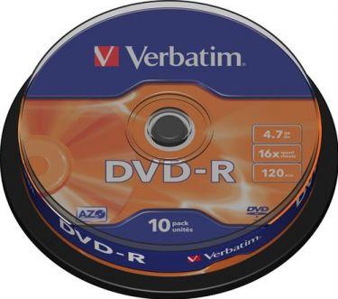 """Verbatim - DVD-R medie - 4,7GB """"Minus"""" format, 16x (10 stk. spindel)"""