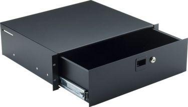 K&M Rack skuffe m/lås. 390mm dyb, 3U, sort