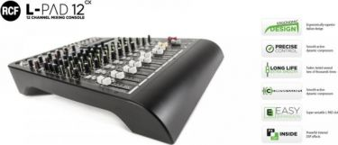 RCF Livepad 12CX mixer, 6 Mic + 4 x Stereo Line m/DSP