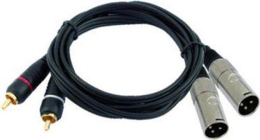 Omnitronic - Prof. audiokabel - 2 x XLR han > 2 x RCA(Phono) han (3m)