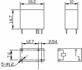 DIP relæ - 24VDC / 7A, 1 x slutte (SRSB-24VDC-SAH)