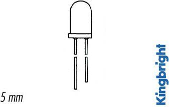 5mm 5V LED - GRØN diffus (20mcd 30°)