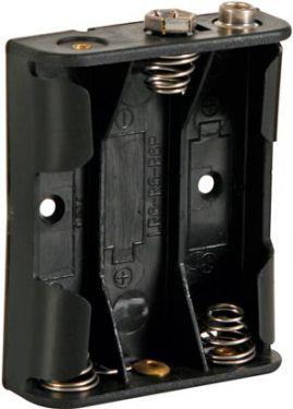 Batteriholder til 3 x AA bat. (m. knapterminaler)