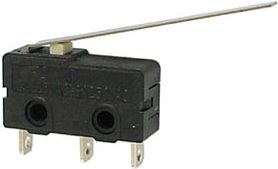Microswitch - 3A 250V omskifter, Lang arm
