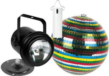 DISCO sæt - PAR36 PINSPOT, 15cm spejlkugle
