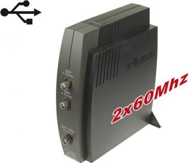 Velleman - PCSU1000 PC oscilloskop m. USB, 2 kanaler, 60MHz