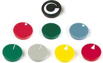 Dæksel til 21mm knap - Sort m. hvid pil