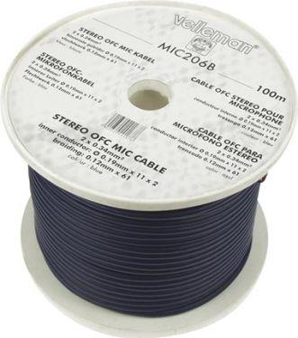 Velleman - Mikrofonledning - 2 x 0,34mm² OFC Ø6mm Blå (metervare)
