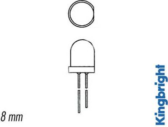 8mm LED - Rund, GUL diffus (70mcd, 60°)