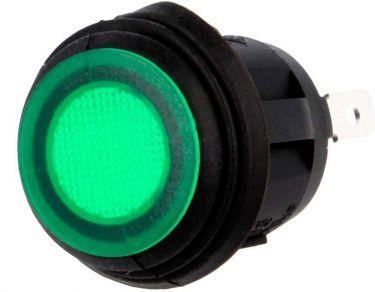 Vippekontakt - 1P ON-OFF, 250V/10A, Grøn lys (IP65)