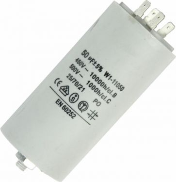 MOTOR kondensator - 50uF / 450V, M8 forskruning, Spadestik