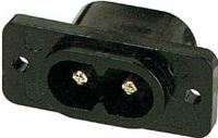 Apparatfatning - 2 pol han, for flad Philips-stik, sort