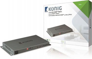 KÖNIG - HDMI matrix switch - 4 x HDMI ind til 4 x HDMI ud