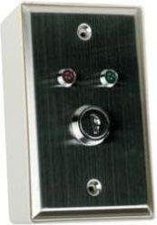 Nøglekontakt i vægdåse - 1P OFF-(ON), momentær sluttefunk.