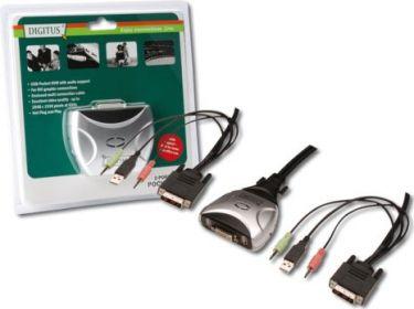 """Digitus - DVI USB mini-KVM switch 1 bruger, 2 PC""""ere"""