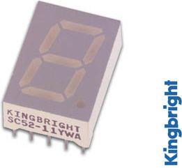 Kingbright - SC52-11HWA DISPL. 13mm rød 0.7mcd C.C.