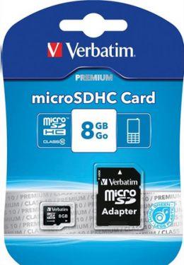 Verbatim - Micro SD kort - 8GB SDHC m. SD adapter, Class 10